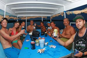 seriti top deck passengers having fun by surf banyak